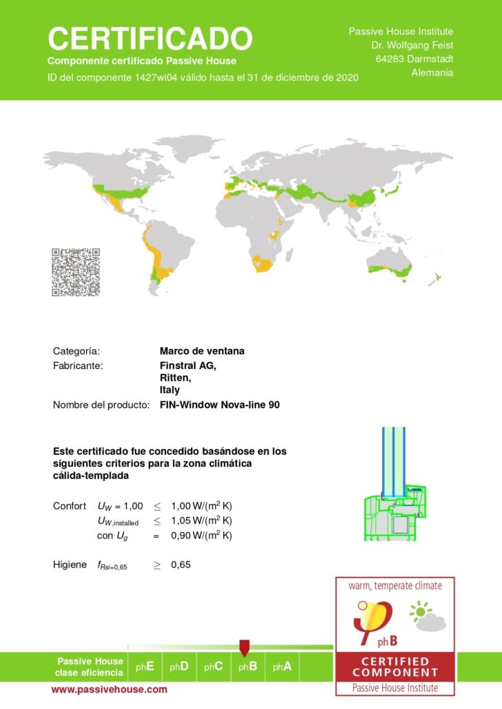 Finstral dispone del certificado pasivhaus