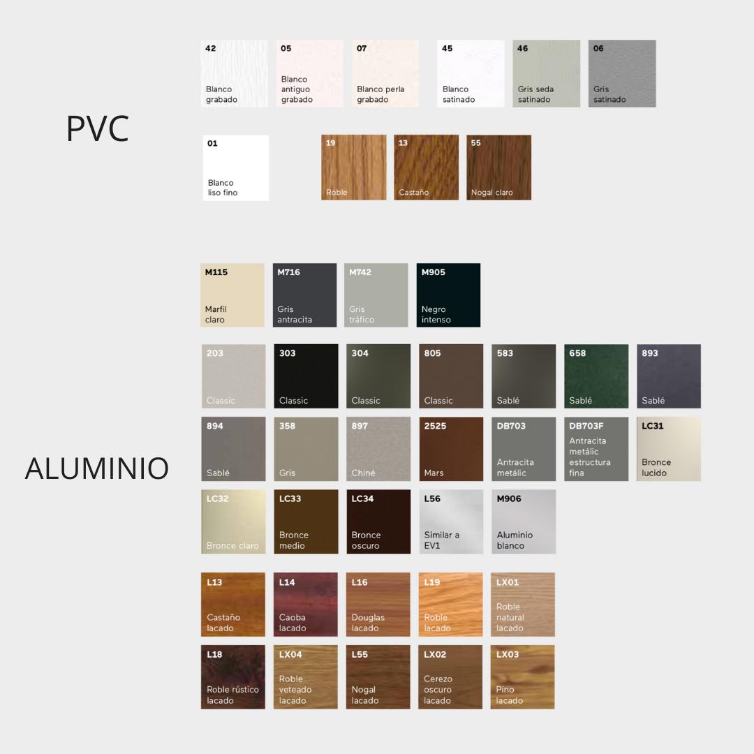 colores pvc y aluminio Finstral